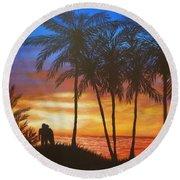 Romance In Paradise Round Beach Towel