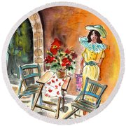 Romance In Siracusa Round Beach Towel