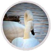 Romance Of The White Swans Round Beach Towel