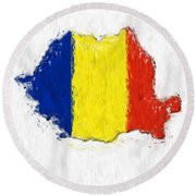 Romania Painted Flag Map Round Beach Towel