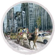 New York 5th Avenue Ride - Fine Art Round Beach Towel
