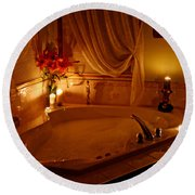 Romantic Bubble Bath Round Beach Towel by Kay Novy