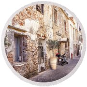 Romantic Chania Street Round Beach Towel
