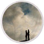 Romantic Couple On A Mountain Peak Round Beach Towel