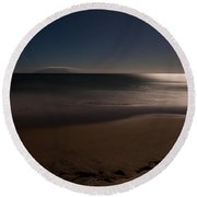 Romantic Moonlight Ocean Sand Beach Long Exposure Round Beach Towel