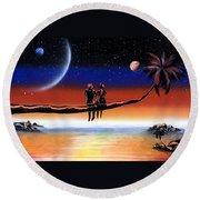 Romantic Night  Round Beach Towel