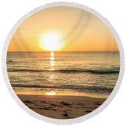 Romantic Ocean Swim At Sunrise Round Beach Towel