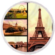 Romantic Paris Sunset Collage Round Beach Towel