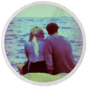 Romantic Seaside Moment Round Beach Towel