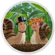 Romantic Snails On A Date Round Beach Towel