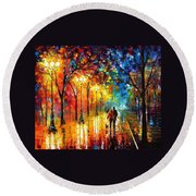 Romantic Stroll - Palette Knlfe Oil Painting On Canvas By Leonid Afremov Round Beach Towel