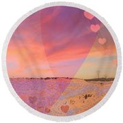 Romantic Sunset Round Beach Towel by Augusta Stylianou