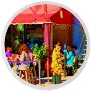 Romantic Terrace Dinner Date Piazzetta Bistro Rue St Denis French Cafe Street Scene Carole Spandau  Round Beach Towel