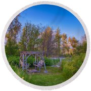 Romantic View By The Methow River Round Beach Towel
