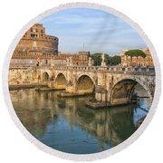Rome Castel Sant Angelo 01 Round Beach Towel