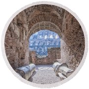 Rome Colosseum Interior 01 Round Beach Towel