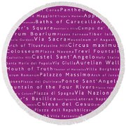 Rome In Words Pink Round Beach Towel