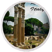 Rome Italy Poster Round Beach Towel