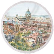 Rome Overview From The Borghese Gardens Round Beach Towel by Anthony Butera