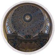 Rome Saint Peters Basilica Interior 01 Round Beach Towel