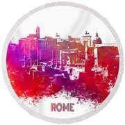 Rome Skyline Round Beach Towel