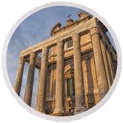 Rome Temple Of Antoninus And Faustina 01 Round Beach Towel