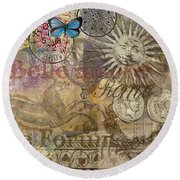 Rome Vintage Italy Travel Collage  Round Beach Towel