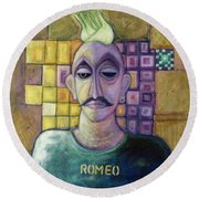 Romeo, 1970 Acrylic & Metal Leaf On Canvas Round Beach Towel