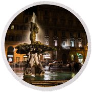 Rome's Fabulous Fountains - Fontana Del Tritone Round Beach Towel
