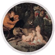 Romulus And Remus Round Beach Towel