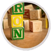Ron - Alphabet Blocks Round Beach Towel