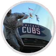 Ron Santo Chicago Cubs Statue Round Beach Towel