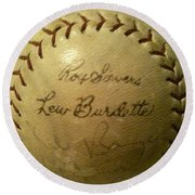 Ron Sievers And Lew Burdette Autograph Baseball Round Beach Towel
