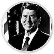 Ronald Reagan Round Beach Towel by Benjamin Yeager