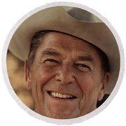 Ronald Reagan In 1976 At His Home At Rancho Del Cielo Round Beach Towel