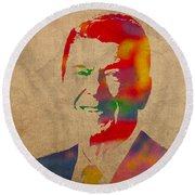 Ronald Reagan Watercolor Portrait On Worn Distressed Canvas Round Beach Towel