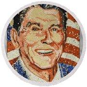 Ronald Wilson Reagan Mosaic Round Beach Towel