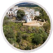 Ronda Houses On A Rock Round Beach Towel