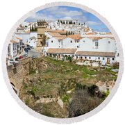 Ronda Old City In Spain Round Beach Towel