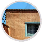 Roof Corner With Ladder And Window Round Beach Towel
