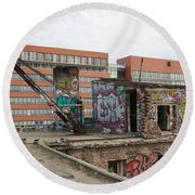 Roof Of The Alte Eisfabrik Ruin In Berlin Round Beach Towel