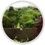 Roof Tops In Countryside Scenery With Trees - Peak District - England Round Beach Towel