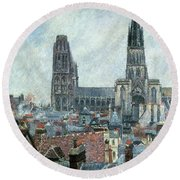 Roofs Of Old Rouen Grey Weather  Round Beach Towel