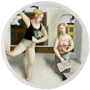 Rooftop Annunciation Two Round Beach Towel