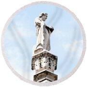 Rooftop Male Statue Duomo Di Milano Italia Round Beach Towel
