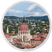 Rooftop Of Parliament Building In Budapest Round Beach Towel