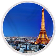 Rooftop View On The Eiffel Tower Round Beach Towel