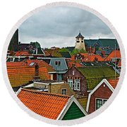 Rooftops From Our Host's Apartment In Enkhuizen-netherlands Round Beach Towel