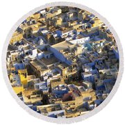 Rooftops In India Round Beach Towel