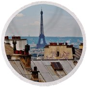 Rooftops Of Paris And Eiffel Tower Round Beach Towel